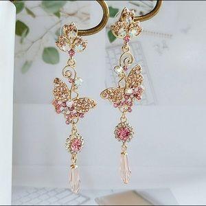 Diamond Flower And Butterfly earrings